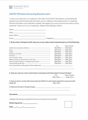 COVID-19 screening questionnaire dermatology clinic